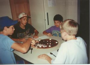Mmmm, first cookie cake with Jarrod, Lee, and Peyton